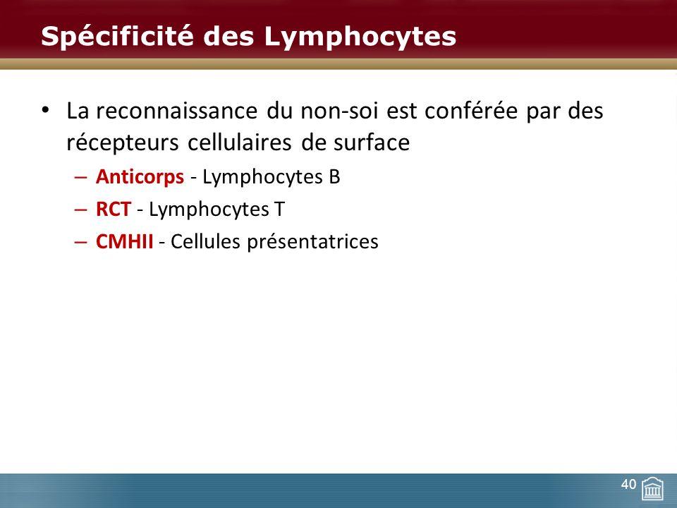 Spécificité des Lymphocytes