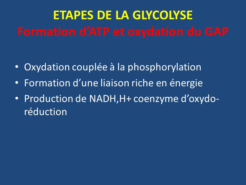ETAPES DE LA GLYCOLYSE Formation d'ATP et oxydation du GAP