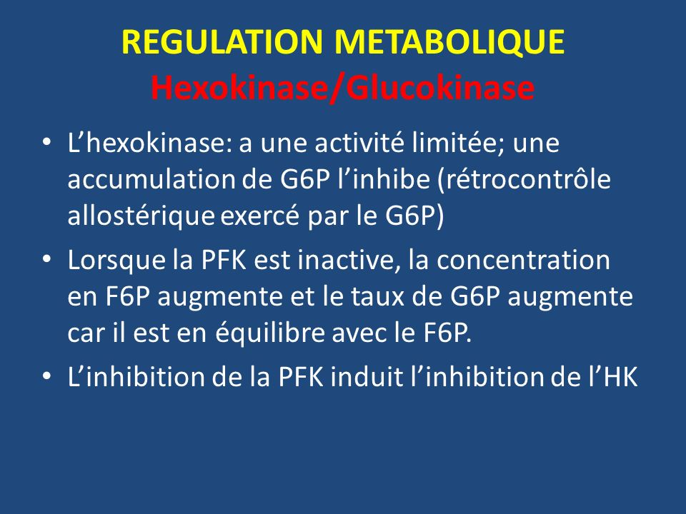 REGULATION METABOLIQUE Hexokinase/Glucokinase