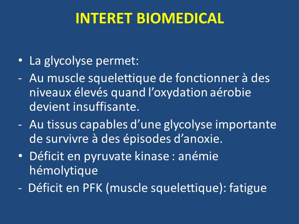 INTERET BIOMEDICAL La glycolyse permet: