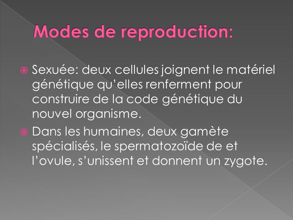 Modes de reproduction: