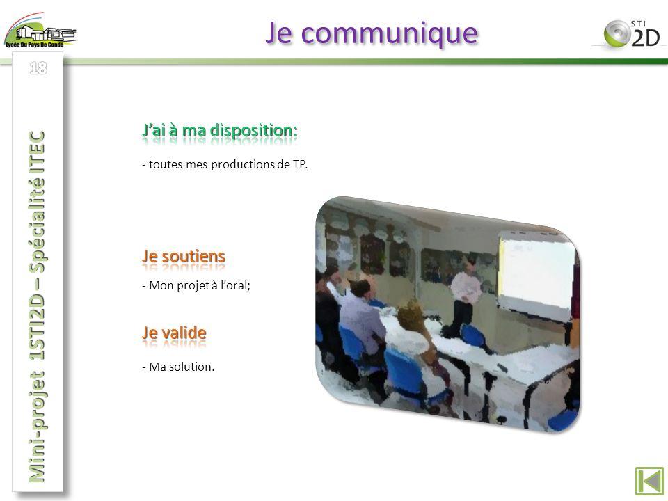 Je communique Mini-projet 1STI2D – Spécialité ITEC