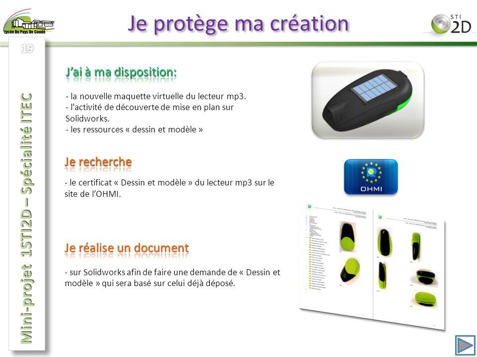 Je protège ma création Mini-projet 1STI2D – Spécialité ITEC