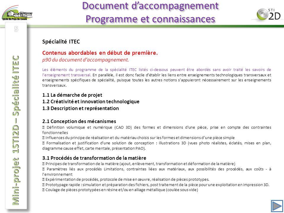 Document d'accompagnement Programme et connaissances