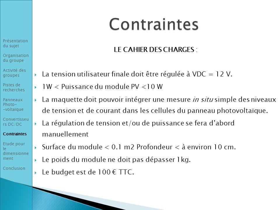 Contraintes LE CAHIER DES CHARGES :