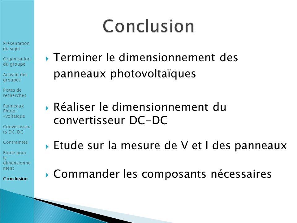 Conclusion Terminer le dimensionnement des panneaux photovoltaïques