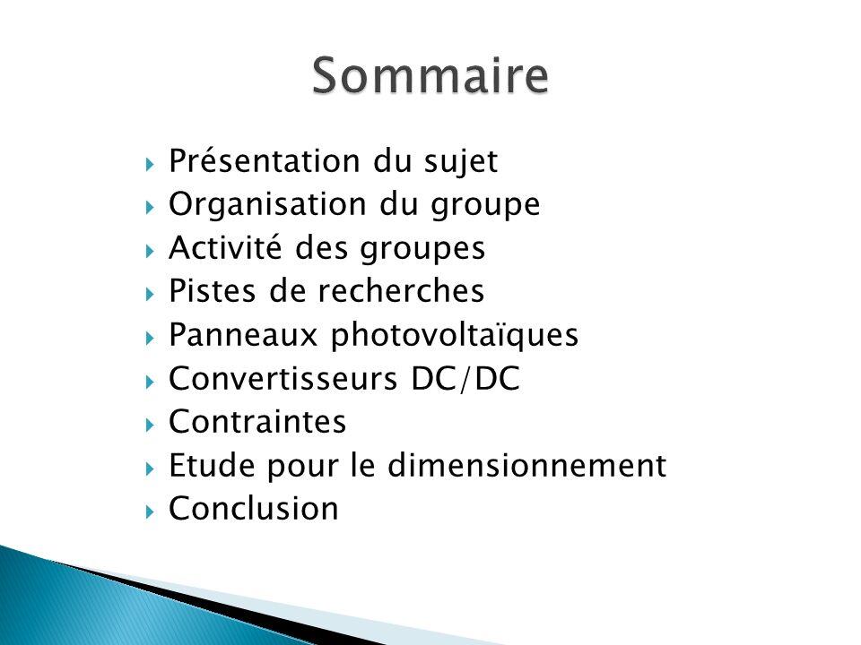 Sommaire Présentation du sujet Organisation du groupe