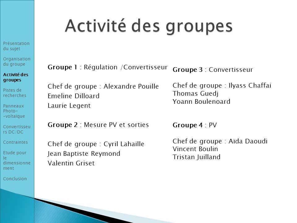 Activité des groupes Groupe 1 : Régulation /Convertisseur
