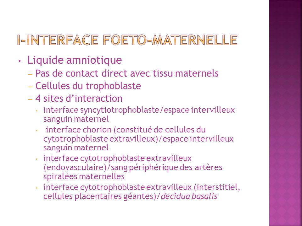 I-Interface foeto-maternelle