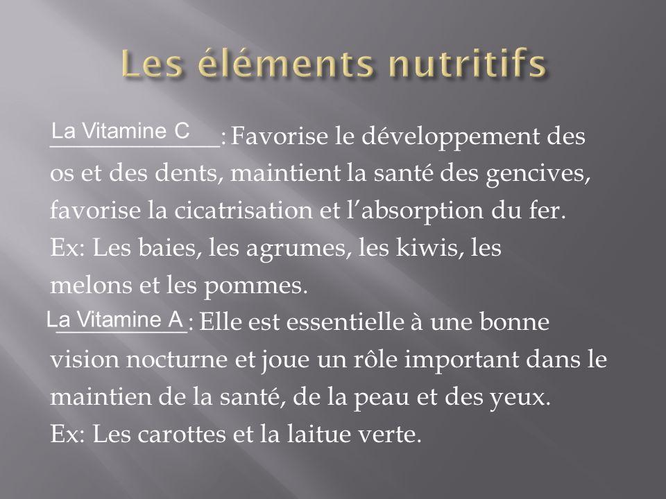 Les éléments nutritifs