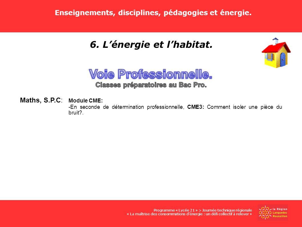 Voie Professionnelle. 6. L'énergie et l'habitat.