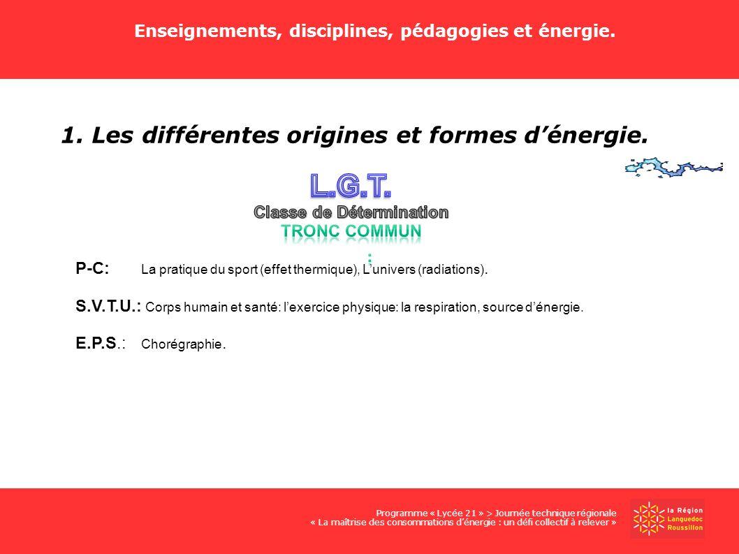 L.G.T. 1. Les différentes origines et formes d'énergie.