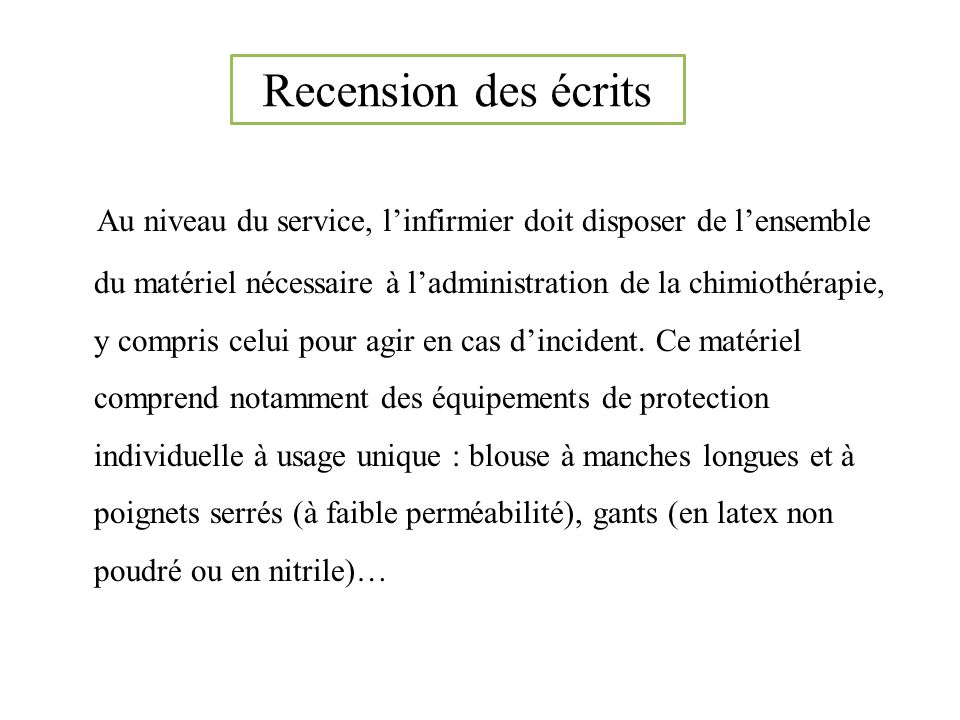 Recension des écrits