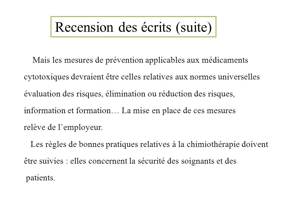 Recension des écrits (suite)