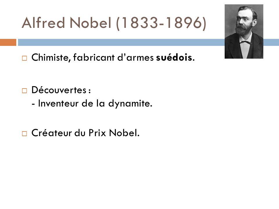 Alfred Nobel (1833-1896) Chimiste, fabricant d'armes suédois.
