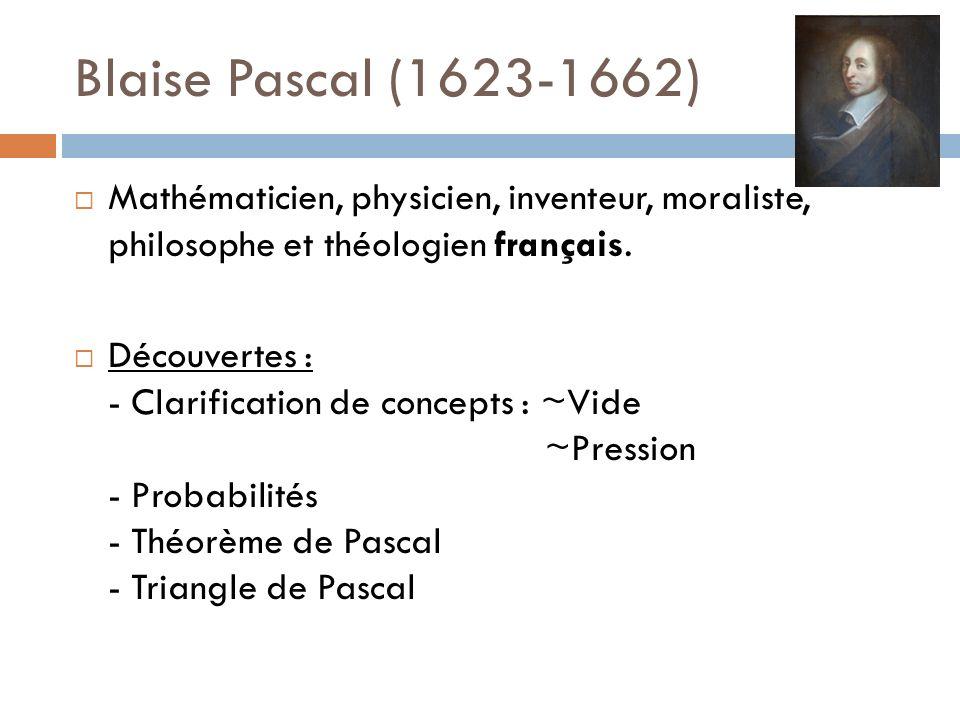 Blaise Pascal (1623-1662) Mathématicien, physicien, inventeur, moraliste, philosophe et théologien français.