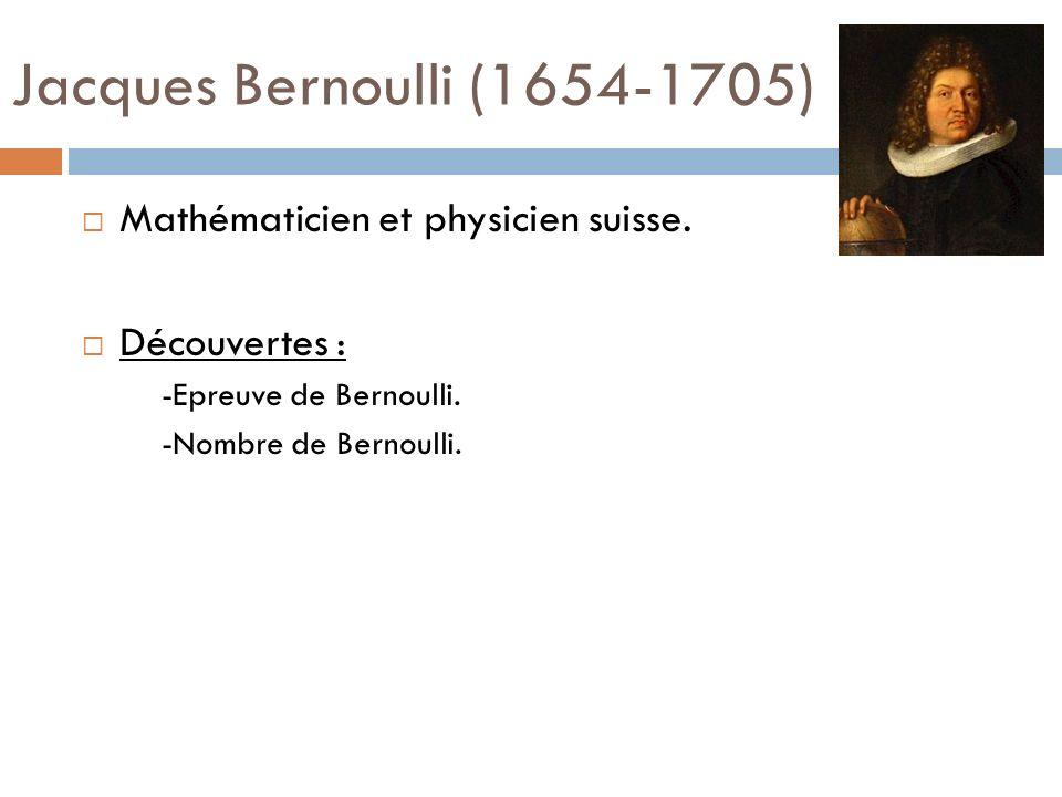 Jacques Bernoulli (1654-1705) Mathématicien et physicien suisse.
