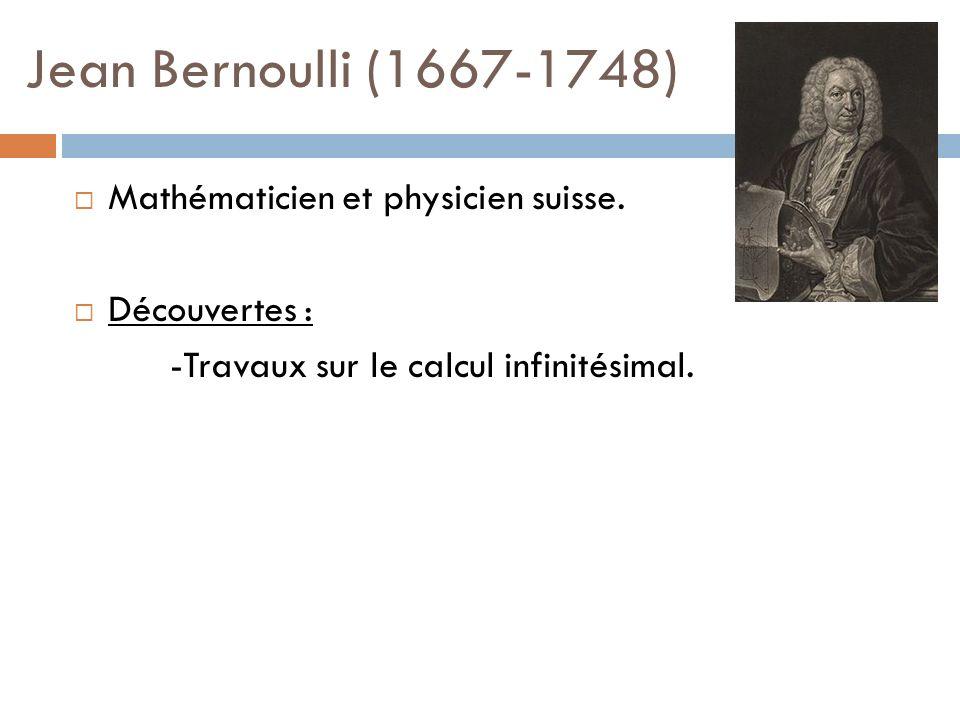 Jean Bernoulli (1667-1748) Mathématicien et physicien suisse.