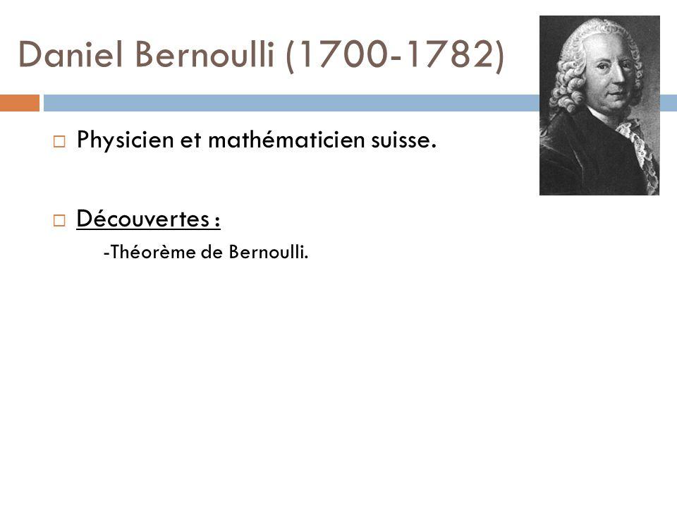 Daniel Bernoulli (1700-1782) Physicien et mathématicien suisse.