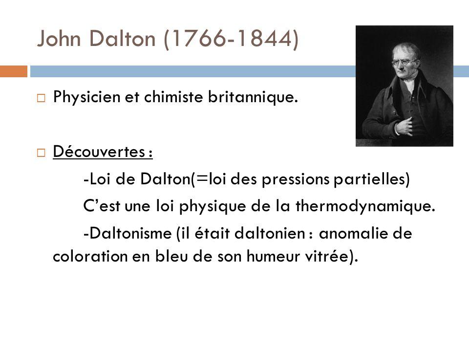 John Dalton (1766-1844) Physicien et chimiste britannique.