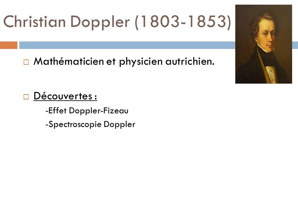 Christian Doppler (1803-1853) Mathématicien et physicien autrichien.