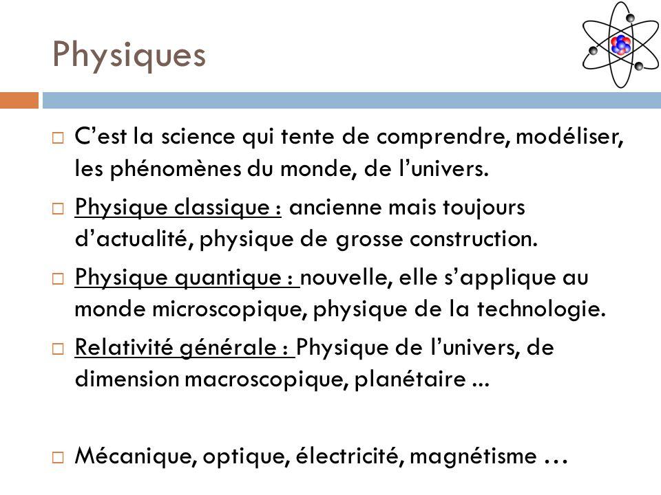 Physiques C'est la science qui tente de comprendre, modéliser, les phénomènes du monde, de l'univers.