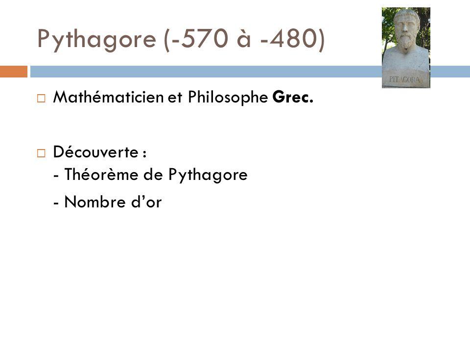 Pythagore (-570 à -480) Mathématicien et Philosophe Grec.