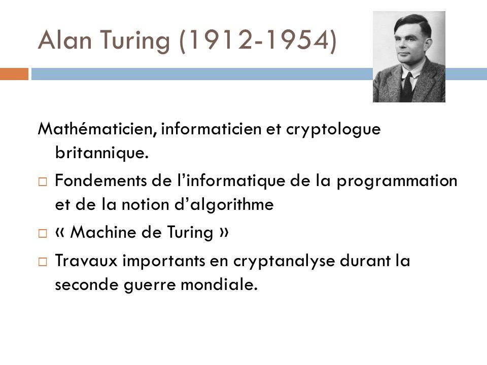 Alan Turing (1912-1954) Mathématicien, informaticien et cryptologue britannique.