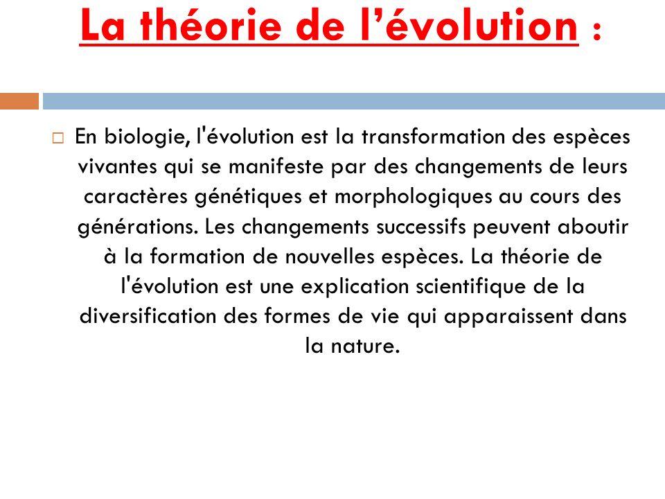 La théorie de l'évolution :