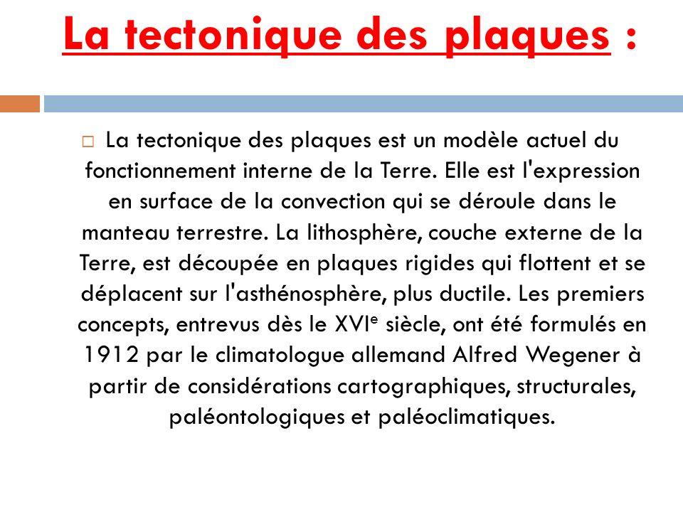 La tectonique des plaques :