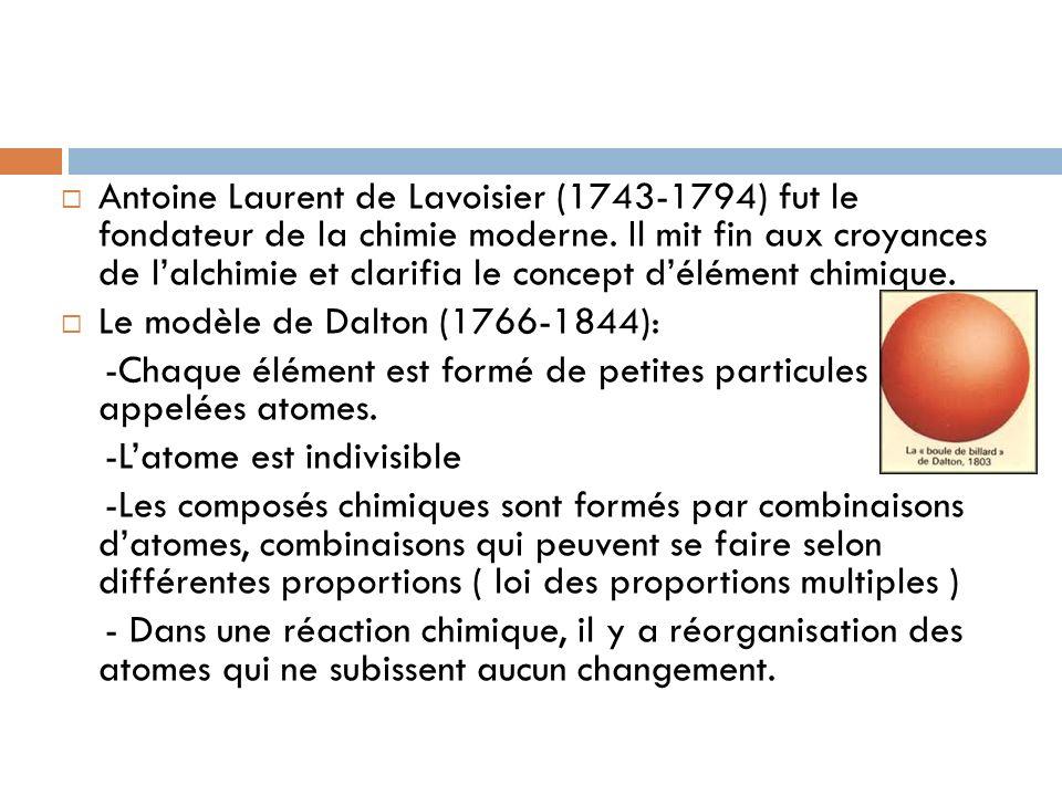 Antoine Laurent de Lavoisier (1743-1794) fut le fondateur de la chimie moderne. Il mit fin aux croyances de l'alchimie et clarifia le concept d'élément chimique.