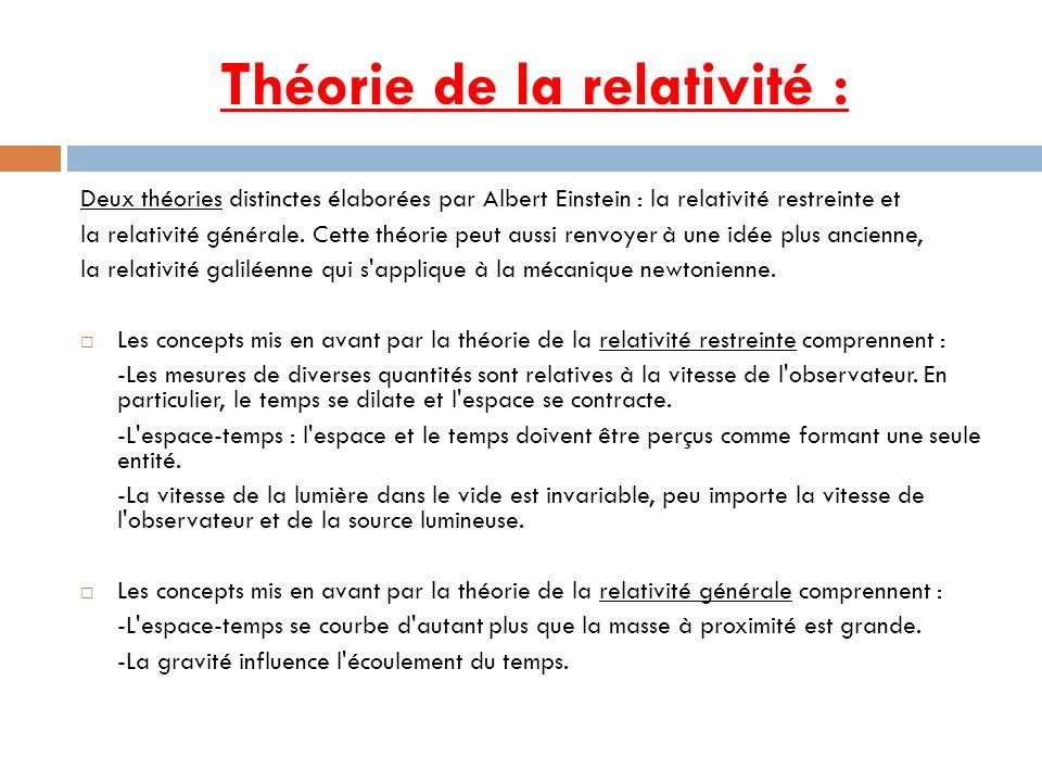 Théorie de la relativité :