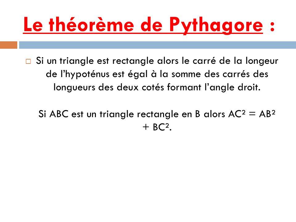 Le théorème de Pythagore :