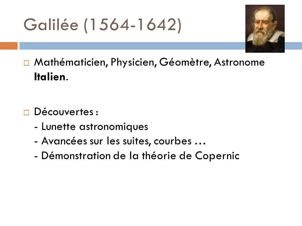 Galilée (1564-1642) Mathématicien, Physicien, Géomètre, Astronome Italien.