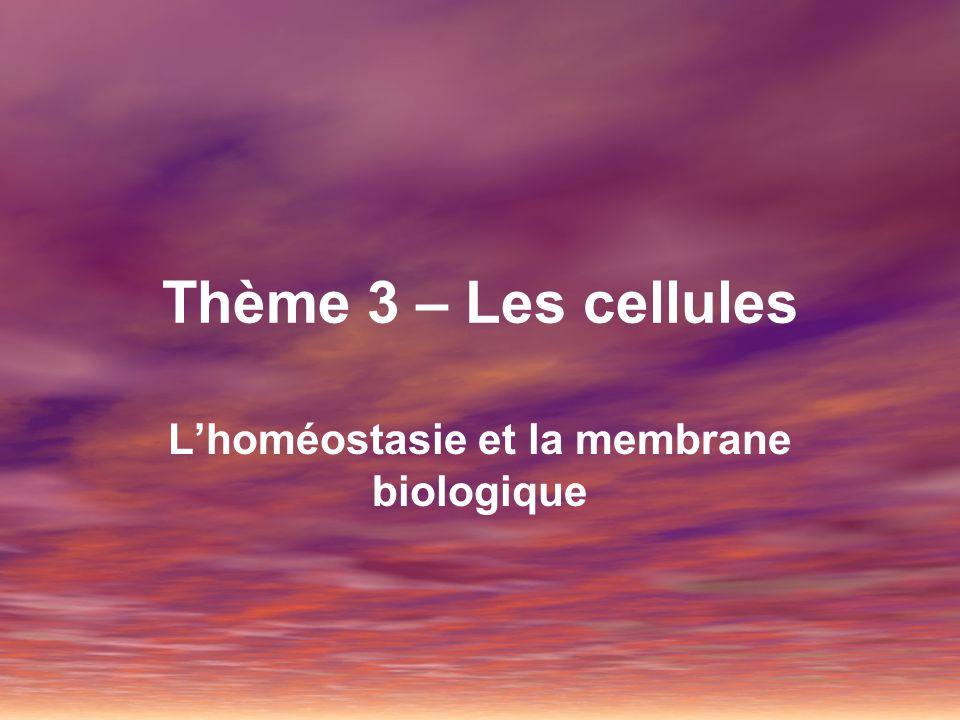 L'homéostasie et la membrane biologique
