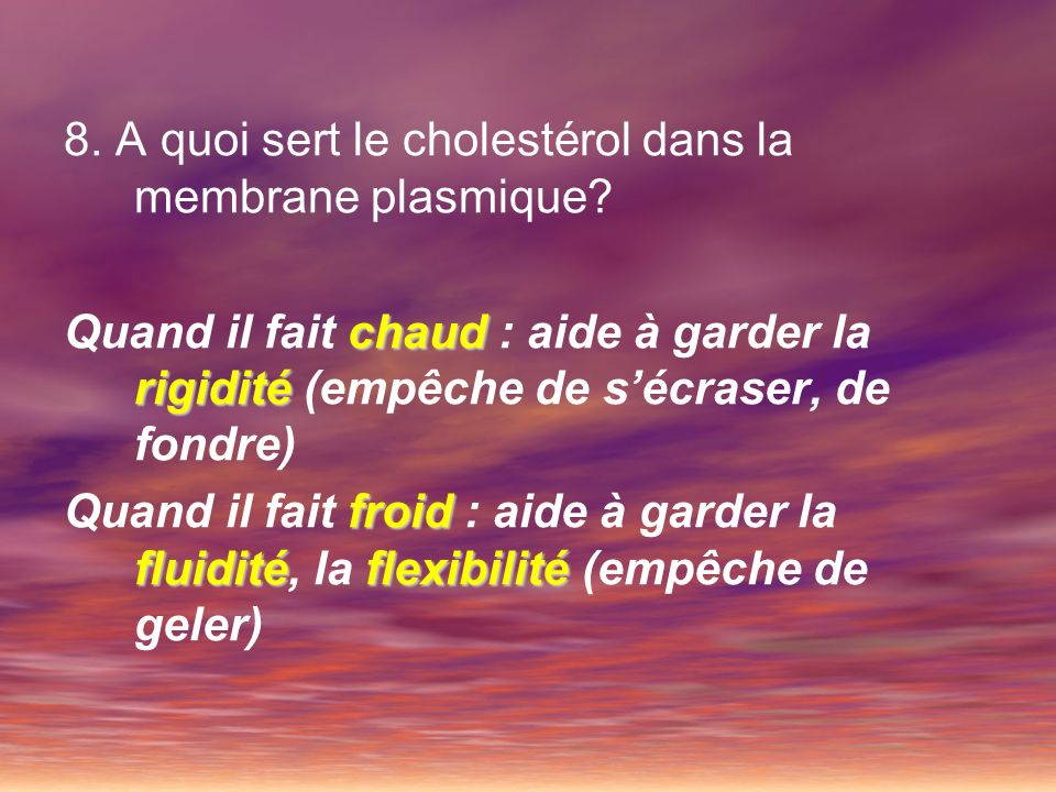 8. A quoi sert le cholestérol dans la membrane plasmique