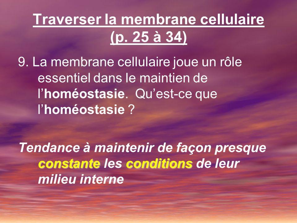 Traverser la membrane cellulaire (p. 25 à 34)