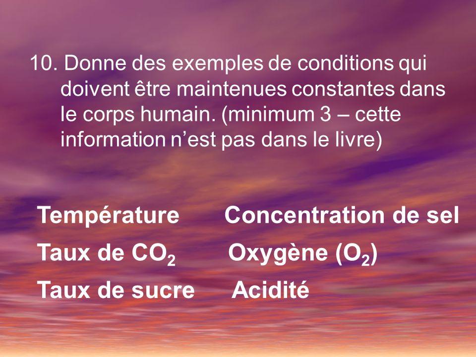 Température Concentration de sel Taux de CO2 Oxygène (O2)