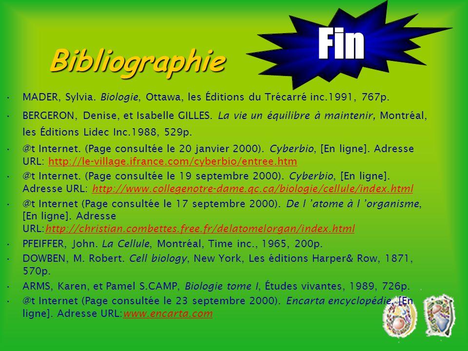 Fin Bibliographie. MADER, Sylvia. Biologie, Ottawa, les Éditions du Trécarré inc.1991, 767p.