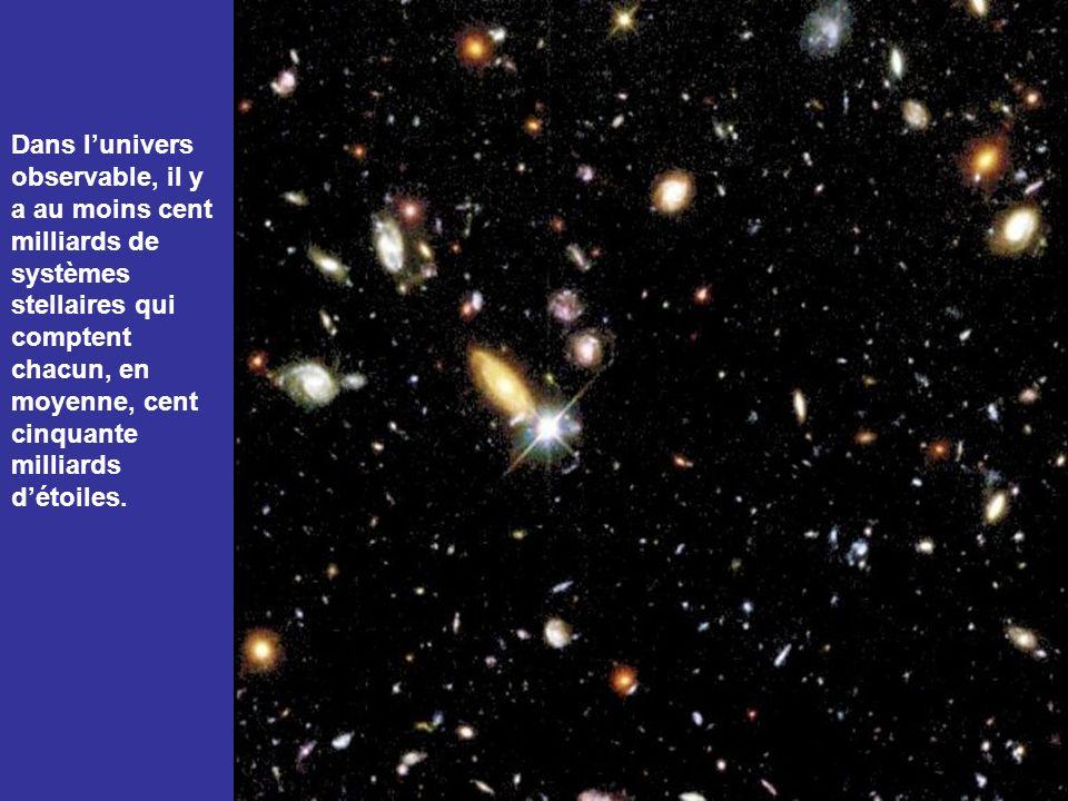 Dans l'univers observable, il y a au moins cent milliards de systèmes stellaires qui comptent chacun, en moyenne, cent cinquante milliards d'étoiles.