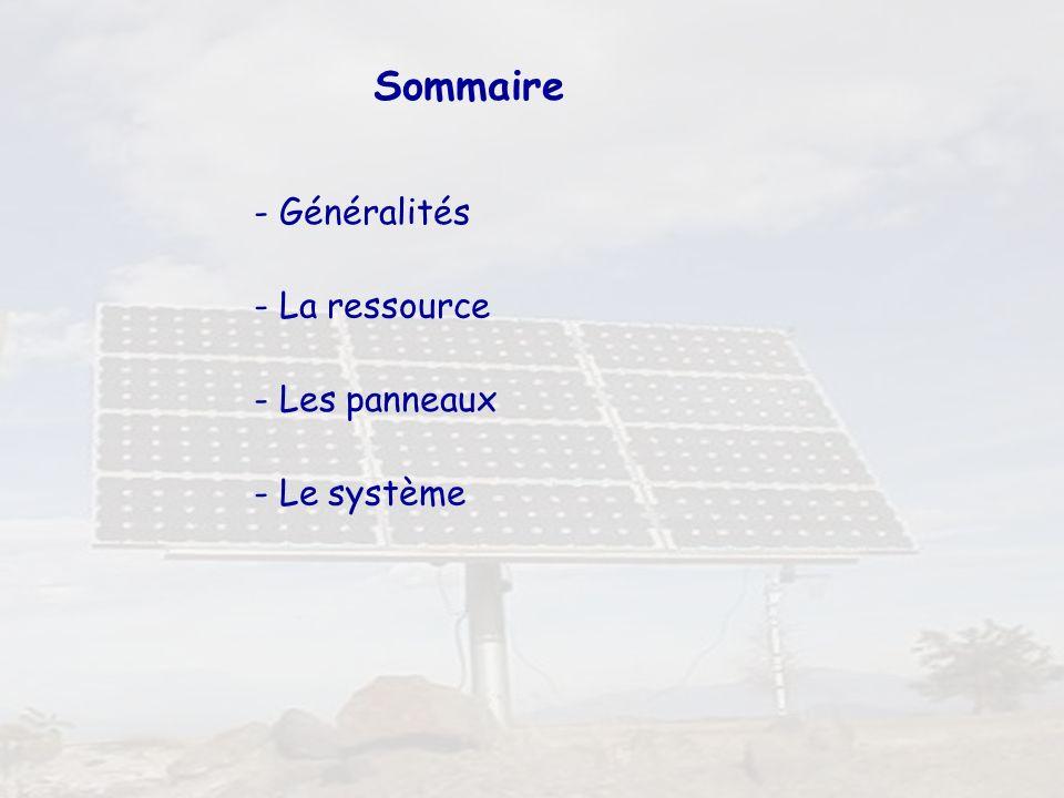Sommaire - Généralités - La ressource - Les panneaux - Le système