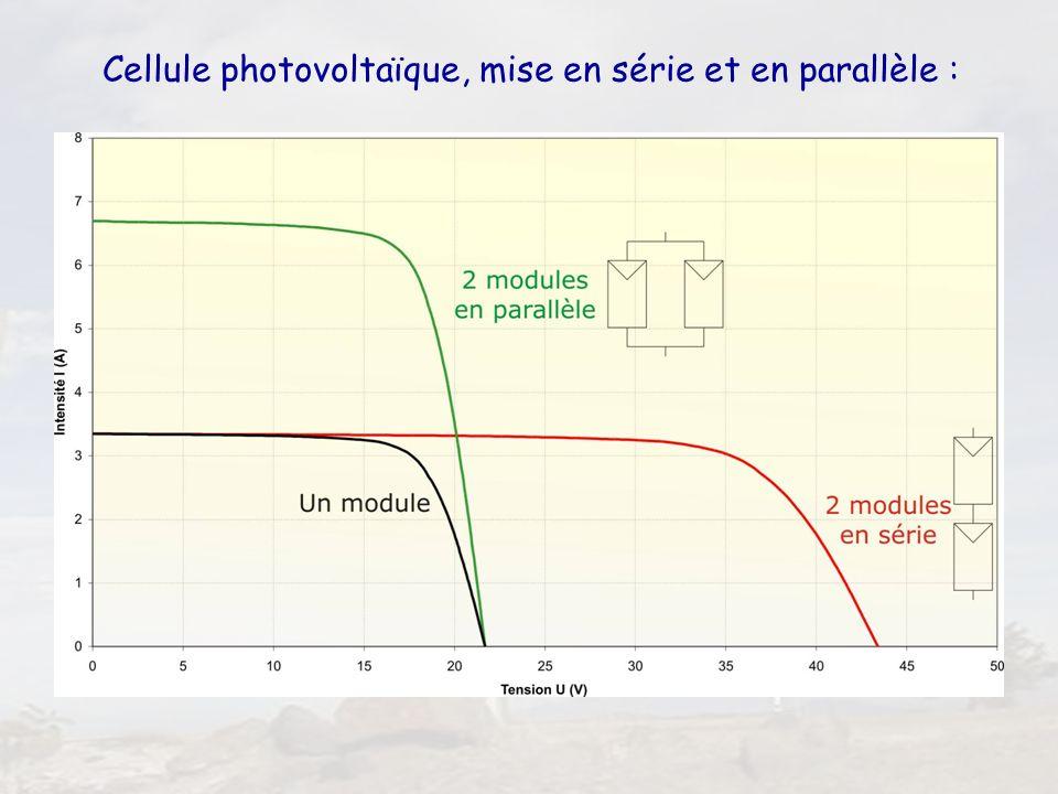 Cellule photovoltaïque, mise en série et en parallèle :