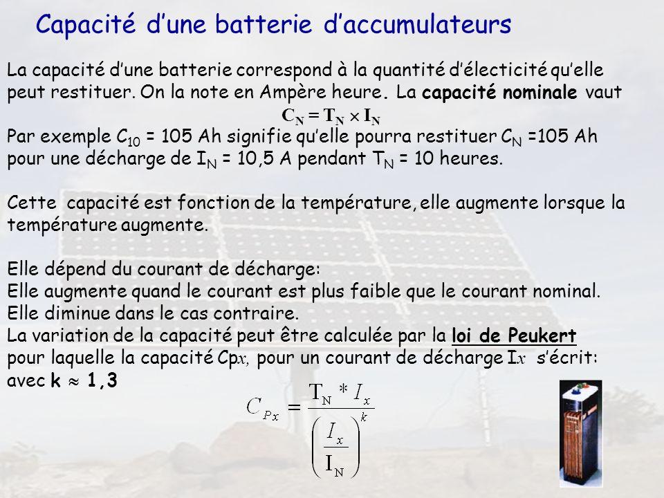 Capacité d'une batterie d'accumulateurs