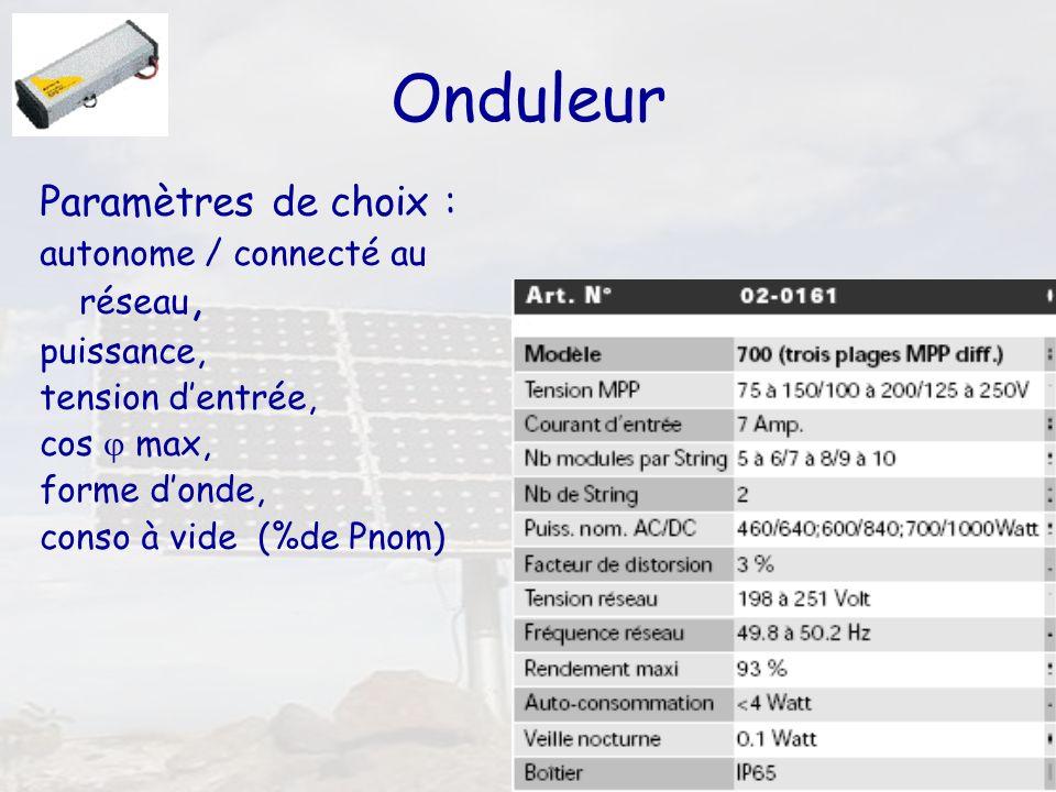 Onduleur Paramètres de choix : autonome / connecté au réseau,