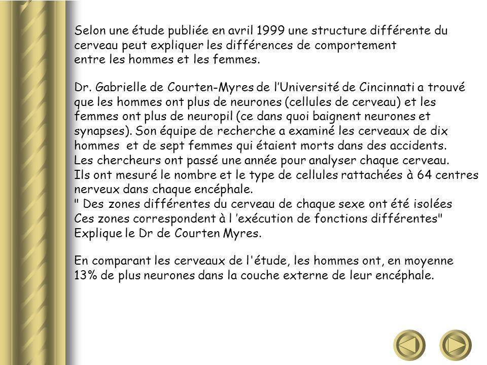 Selon une étude publiée en avril 1999 une structure différente du