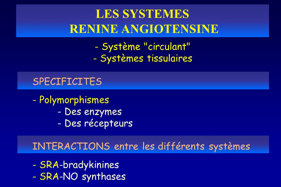 LES SYSTEMES RENINE ANGIOTENSINE