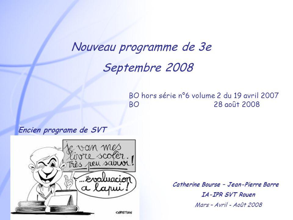 Nouveau programme de 3e Septembre 2008