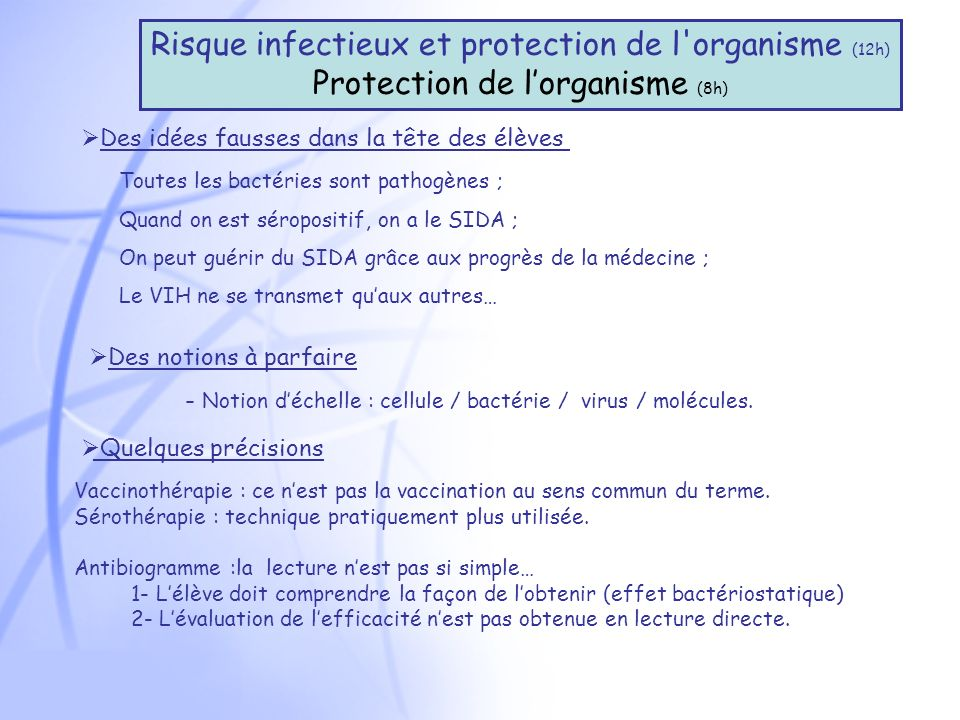 Risque infectieux et protection de l organisme (12h)