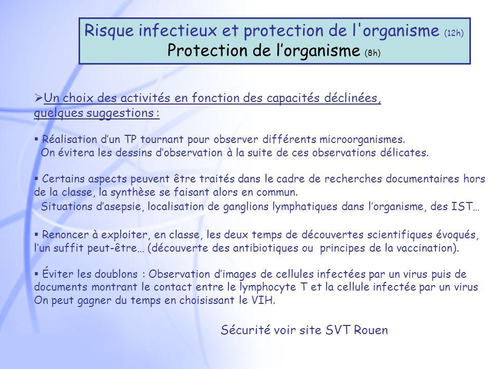 Risque infectieux et protection de l organisme (12h)