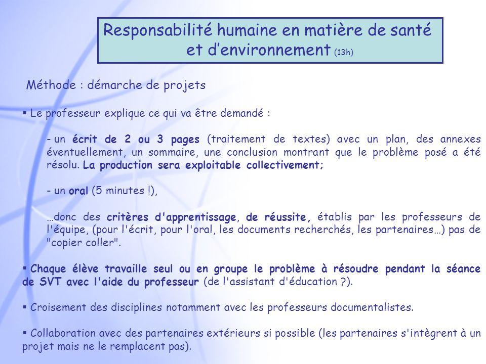 Responsabilité humaine en matière de santé et d'environnement (13h)